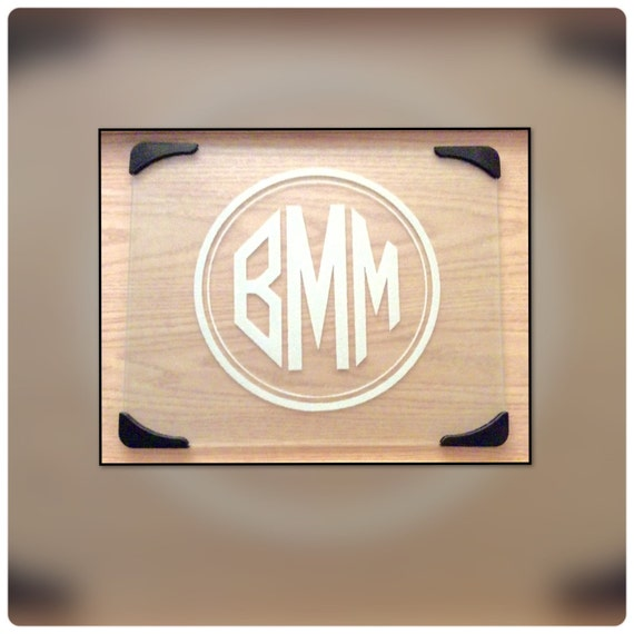 Custom monogram tempered glass cutting board free shipping - Tempered glass cutting board personalized ...