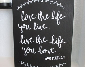 Bob Marley Quote Handlettered Canvas