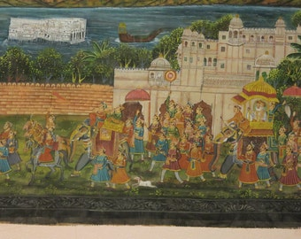 Antique Wall Hanging - Old Painting on Silk Maharaja India 60X85