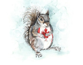 Canadian Maple bellied Squirrel- High Quality Print from an original painting by OneCreativeMother.