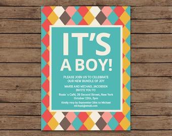 Baby Boy Shower Invite, Printable Baby Boy Shower Invitation, Baby Shower Invitation Template, Baby Shower Invitation Printable.