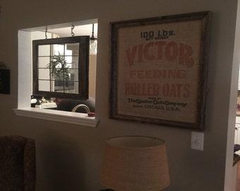 Distressed Window Frames and Framed Vintage Burlap