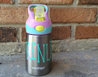 Personalized Contigo children's stainless steel sippy cup for school & daycare. Monogrammed water bottle for kid's. Keeps ice cold for hours