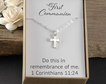 First Communion Jewelry, Confirmation jewelry, Cross charm, Sterling silver, Do this in remembrance of me. 1 Corinthians 11:24