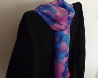 Mysterious woman, Long handmade 100% silk scarf, Gift for her, Birthday gift