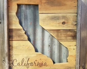 California Sign - Corrugated Metal - Rustic Sign - Reclaimed Wood California - Wall Decor - Wedding Decor - Family Sign - Cabin Sign - State