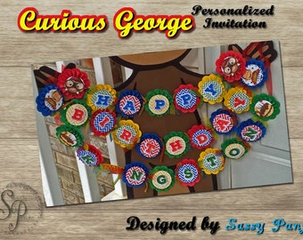 Curious George Happy Birthday Banner - Personalized - HandmadePAPER PRODUCT