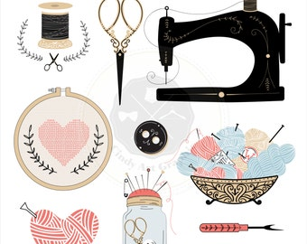 Vintage Sewing Clipart,sewing clipart,crafting clipart, digital download