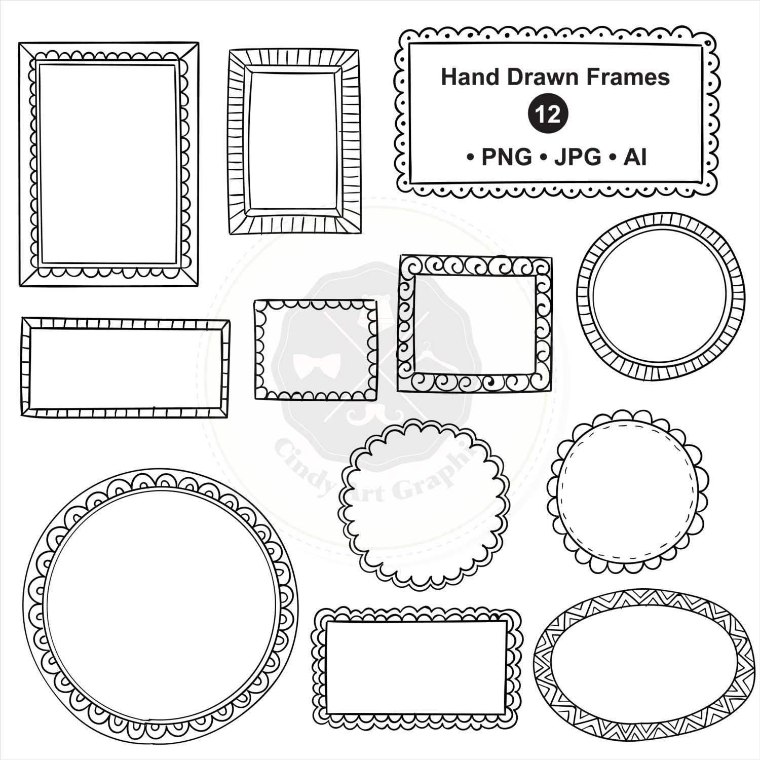 Hand Drawn Frames Clipart,frame clipart,doodle borders ...