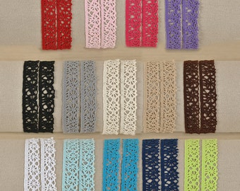 Lace crocheted trim 16 mm in different colours