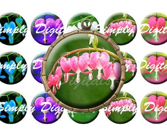 "1"" Circle Bleeding Hearts. Flower Digital Collage. Bottle Cap. Scrapbooking. Jewelry Making. Instant Download. Printable. SD."