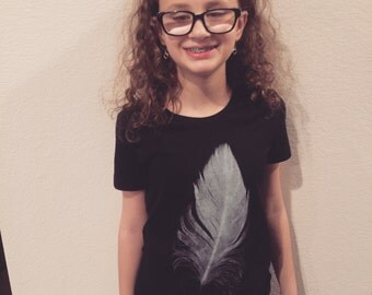 Feather T-Shirt in Black/ Youth Size