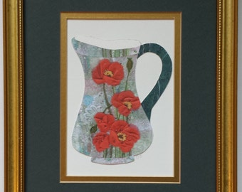 Framed original paper collage art, Pitchers and Bowls Series 2016 #28
