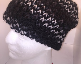 Double Knit Hat- Adult- Black and Gray winter hat