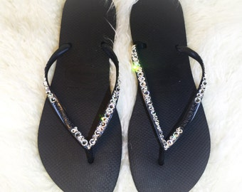 Black Havaianas Swarovski Crystal 001 Adorned Sandals