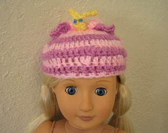 Butterfly Hat---Whimsical Critter Hat Crocheted for American Girl and Similar 18-inch Dolls, animal hat, costume