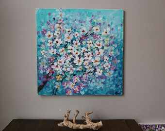flower painting ,Acrylic painting ,blossoming tree ,cherry blossom,teal, turquoise,tree painting,original painting,room deco