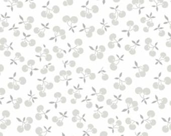 BTHY - Fog City Kitty by Pam Kitty Morning for Lakehouse Dry Goods, Pattern #LH 13011-PEWTER, Cherries in Grey on White, By Half Yard