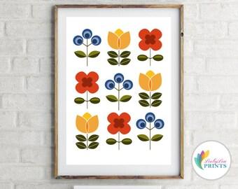 Scandinavian Style Flowers Print (portrait) - Skandi Print, Scandi Print, Retro Flowers, Mid-Century Design, Bright Kitchen Print