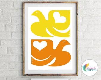 Bird Print - Scandi Bird Tiles -  Bright Scandi Style Print