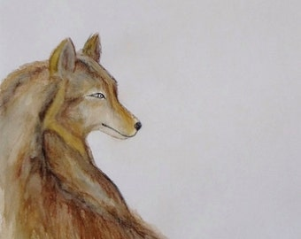 Wolf Watercolour Painting