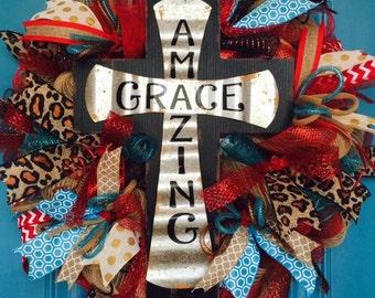 Amazing Grace Cross Deco Mesh Wreath