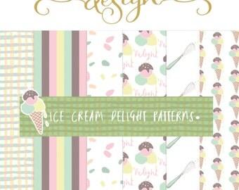 Ice Cream Patterns Digital Art Pattern Ice Cream Pattern/Patterns soft colours Ice Cream Scrapbooking paper Digital Paper Seamless Patter