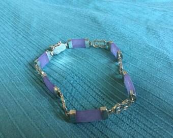 Vintage Sterling Jade Bracelet  9g.