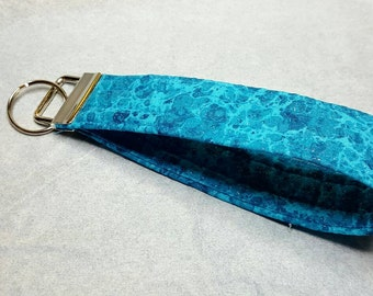Shimmer turquoise key fob wristlet key chain