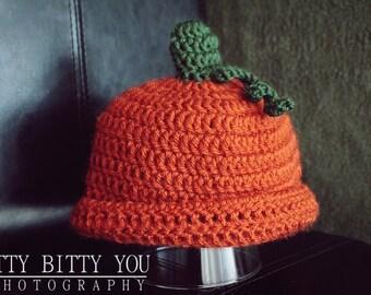 Pumpkin beanie, Holloween pumpkin hat, Newborn holloween pumpkin hat