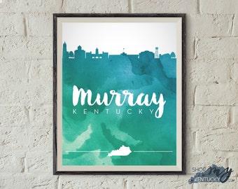 Murray, Kentucky Watercolor Skyline Poster Print, Home Decor, Office Decor, Kentucky Poster Print
