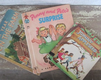 3 Vintage Children's Reading Books Johnny Appleseed Penny And Pete's Surprise A Year On The Farm