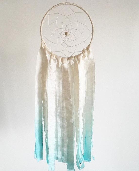 Turquoise and Ivory Silk Beach Dreamcatcher || Modern Minimalist || Bohemian || Wall Hanging