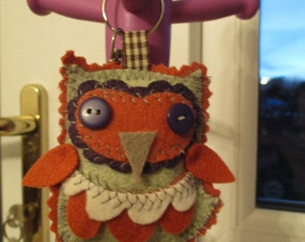 Cute owl keyring bag charm