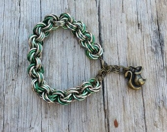 Knot and common combination weave with squirrel charm