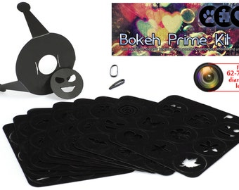 Bokeh Special Effects System Prime Kit, 72 shapes universal holder. 62-72mm lens
