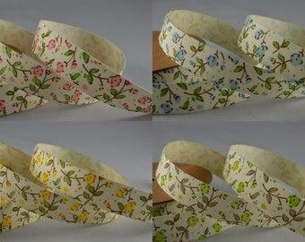 Full Reel Floral Cotton Ribbon 15mm x 10m - Vintage Wedding, Gift Wrap, Bows