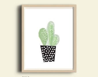 Tropical print, tropical decor, tropical printable art, tropical digital art, tropical plant print, potted Cactus print, Cactus, nature art