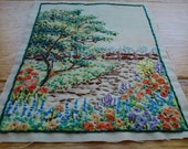 Vintage Exquisite Small Hand Embroidered Cottage Garden Panel