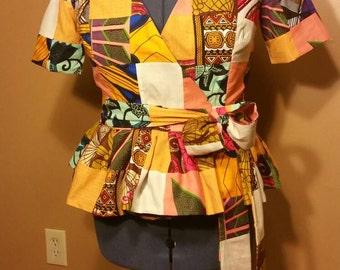 African Patchwork Wrap Shirt