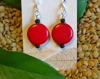 Red Earrings, Red Stone Flat Bead Earrings, Statement Earrings