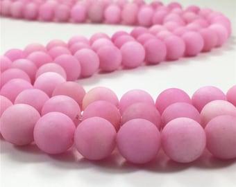 8mm Matte Pink Jade Beads, Round Gemstone Beads, Wholesale Beads