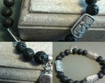 Man lava stone bracelet