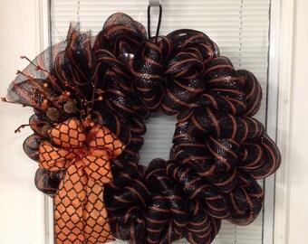 Halloween Wreath, Black with Orange Stripe Deco Mesh Fall Wreath