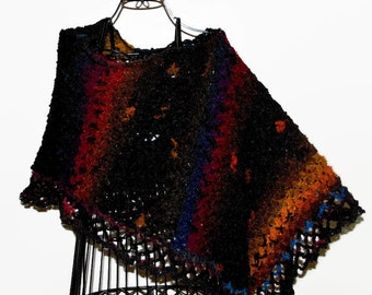 Crochet Lace Poncho, Lightweight Poncho, Woman Scarf, Knit Accessories, Knit Poncho, Crochet Gift for Her, Woman Gift, BLACK MULTI PONCHO