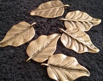 6 Leaf Charms Antique Bronze tone metal