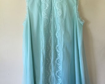 1960s Seafoam Green Sheer Lace Night Gown