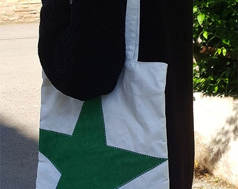 Waterproof Star Patch Sailcloth Tote Bag