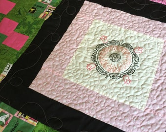 Hand pieced, pink and green, hand embroidered, John Deere tractor lap quilt! Home Decore, Country furnishings! Great gift idea!