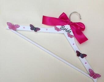 Bride Pink Butterflies Wedding Dress Hanger
